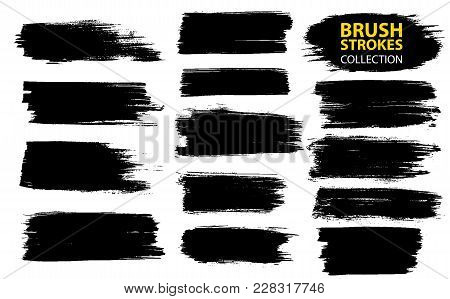 Vector Large Set Different Grunge Brush Strokes. Dirty Artistic Design Elements Isolated On White Ba