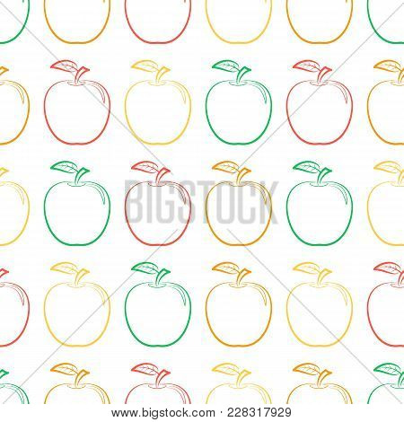 Seamless Pattern From Outline Colorful Ripe Apples With A Leaf On A White Background. Design For Tex