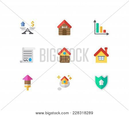 Real Estate Icons Set. Home And Real Estate Icons With Animal House, Renovation And Contract. Set Of
