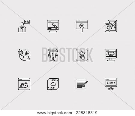 Engine Icons Set. Apps Development And Engine Icons With Page Content, Page Load Speed And Seo Consu