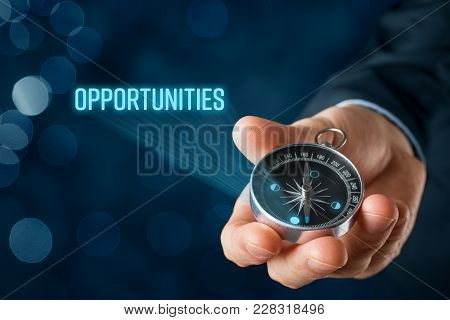 Businessman Looking For Opportunities Concept. Marketing Specialist With Compass Seek Business Oppor