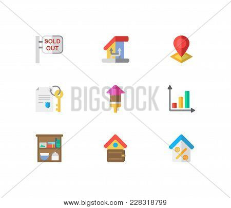 Real Estate Icons Set. Sold Out And Real Estate Icons With Storage, Change Of Housing And Location.