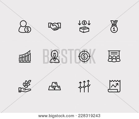 Capital Icons Set. Agriculture Investment And Capital Icons With Investment Services, Staff Training