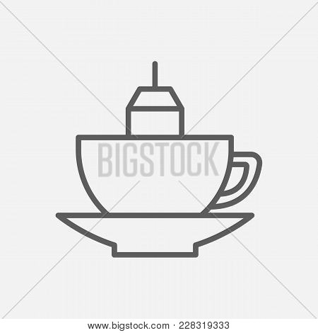 Mug With Teabag Icon Line Symbol. Isolated  Illustration Of  Icon Sign Concept For Your Web Site Mob