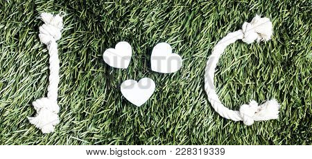 I And C Letters And Three Paper Heart Cut Outs On Grass.