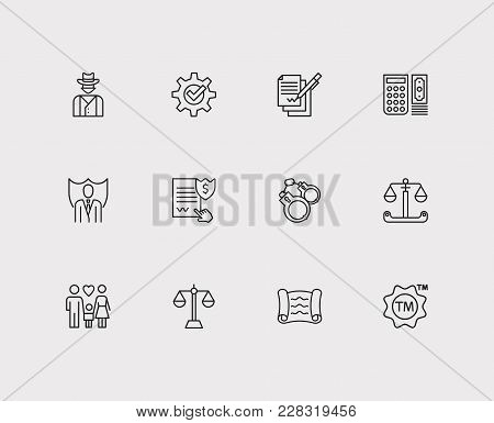 Legal Icons Set. Lawyer And Legal Icons With Penalty, Business And Contract. Set Of Elements Includi