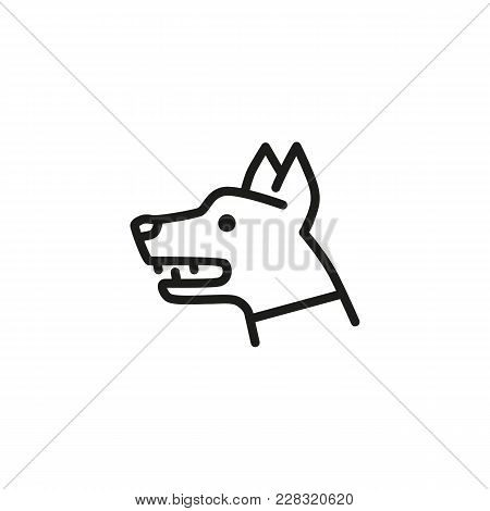 Line Icon Of Beware Of Dog Sign. Danger, Secured Area, Police Dog. Warning Signs Concept. Can Be Use