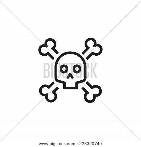 Line Icon Of Human Skull And Crossbones As Danger Sign. Death, Pirate, Virus. Warning Sign Concept.