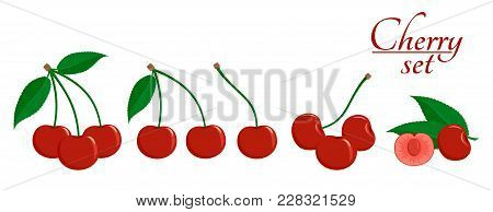 Ripe Cherry With Green Leaves, Cut Cherry In Flat Style. Set Of Icons. Design For A Label, Poster, B