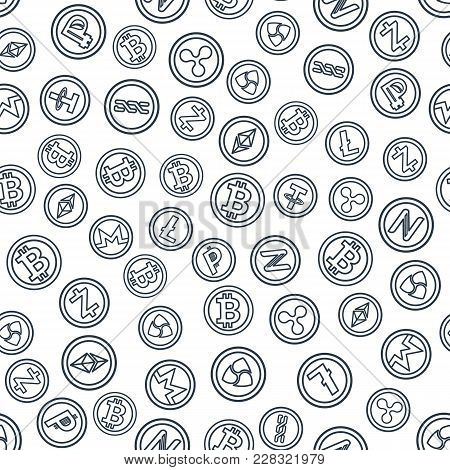 Set Of Outline Coins With Symbols And Signs Of Popular Crypto Currency. Seamless Background. Mining