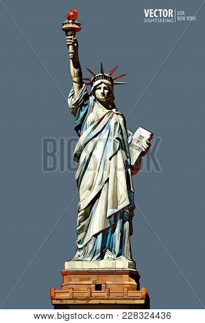 Statue Of Liberty. New York City. American Symbol. Landmark. Vector Illustration