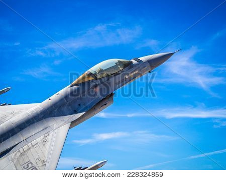 Monte Real, Portugal-september 10:  F16 Fighter Jet Close Up Soaring Through The Air. Participating