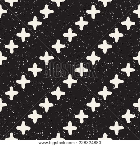 Hand Drawn Style Ethnic Seamless Pattern. Abstract Grungy Geometric Shapes Background In Black And W