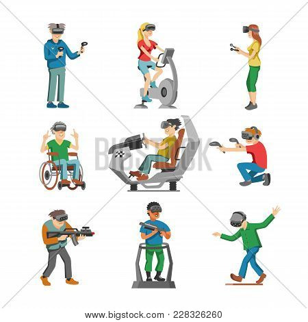 Virtual Reality Vector Character Gamer With Vr Glasses And Person Playing In Virtuallization Technol