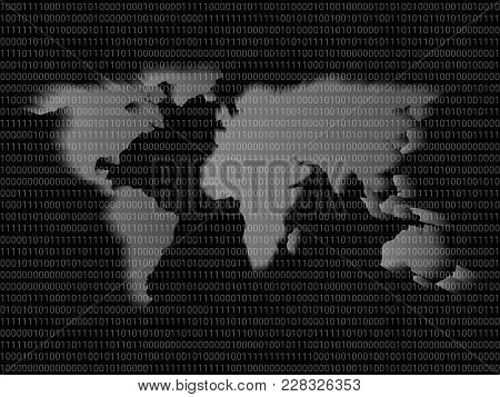 Digital World Map Sign Binary Code With Binary Digits 1 And 0, Big Data Global Network Information T