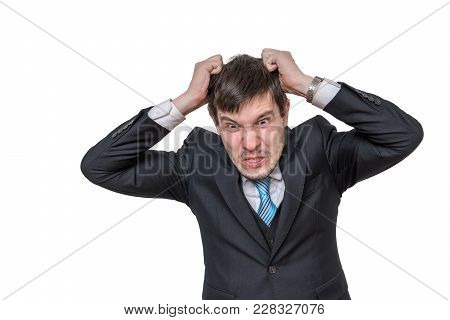 Portrait Of Angry Man Isolated On White Background.