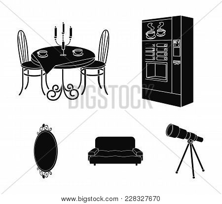 Coffee Maker, Served Table In The Restaurant And Other  Icon In Black Style Isometric. Soft Comforta