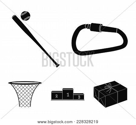 A Lock For A Bicycle, A Ball With A Ball For Baseball, A Podium, A Basket With A Basket For Basketba