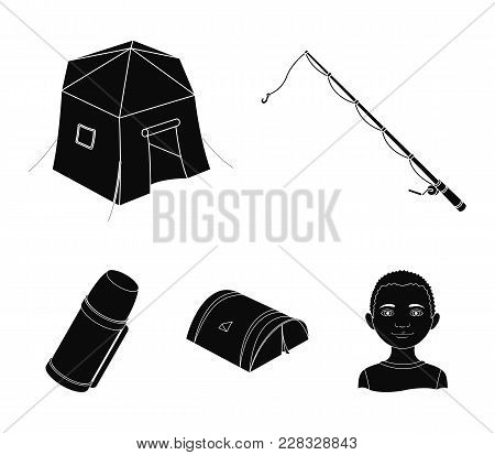 Spinning For Fishing, Tent, Thermos.tent Set Collection Icons In Black Style Vector Symbol Stock Ill