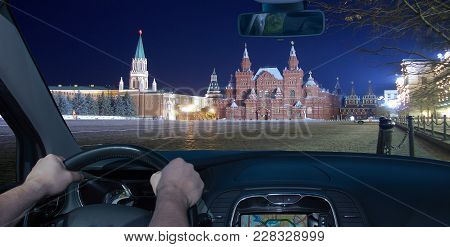 Driving A Car In Red Square At Night, Moscow, Russia