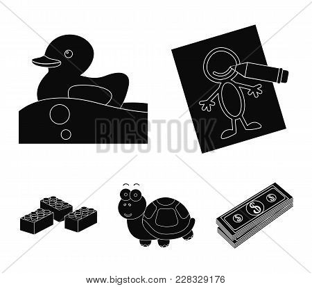 Children's Toy Black Icons In Set Collection For Design. Game And Bauble Vector Symbol Stock Web Ill
