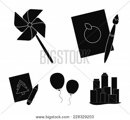 Pictures, A Windmill, Balloons. Tigers Set Collection Icons In Black Style Vector Symbol Stock Illus