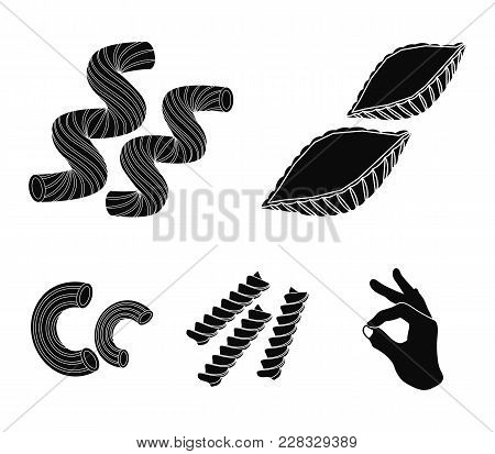 Different Types Of Pasta. Types Of Pasta Set Collection Icons In Black Style Vector Symbol Stock Ill