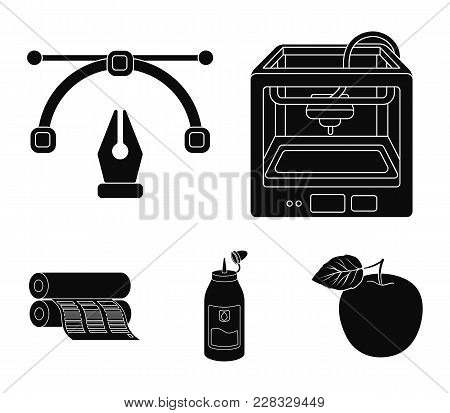 3d Printer, Newspaper Printer, Ink, Pen. Typography Set Collection Icons In Black Style Vector Symbo