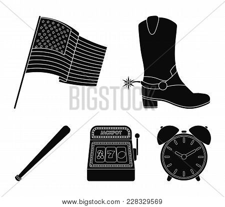 Cowboy Boots, National Flag, Slot Machine, Baseball Bat. Usa Country Set Collection Icons In Black S