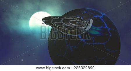 Stinger Star-ship 3d Illustration - A Spaceship Flies Close To A Planet With Bright Blue Fissure Cra