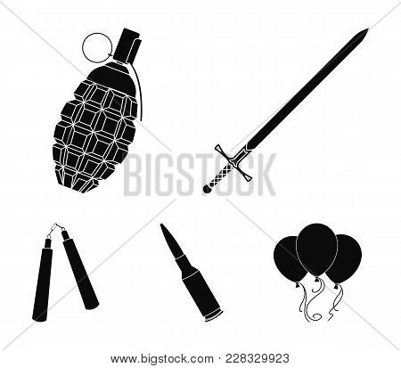 Sword, Hand Grenade, Cartridge, Nunchaki. Weapons Set Collection Icons In Black Style Vector Symbol