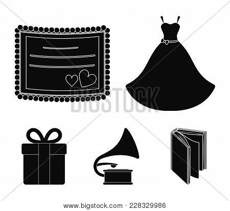 Wedding Dress, Invitation, Gift, Gramophone. Wedding Set Collection Icons In Black Style Vector Symb