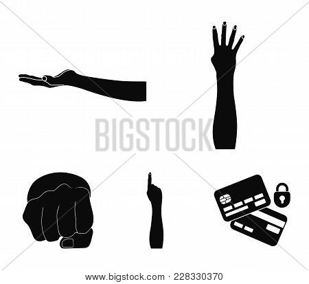 Sign Language Black Icons In Set Collection For Design.emotional Part Of Communication Vector Symbol