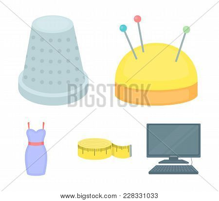 Pincushion With Pins, Thimble, Centimeter, Dress.atelier Set Collection Icons In Cartoon Style Vecto