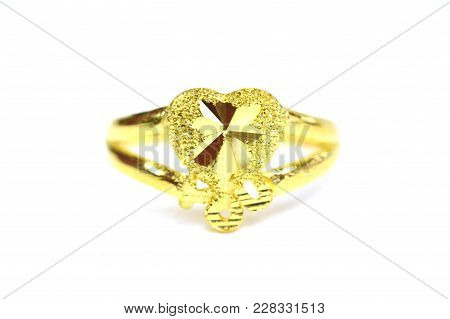 Gold Pendant Cameo Fancy Ring Jewelry In Heart Shape Isolated On White