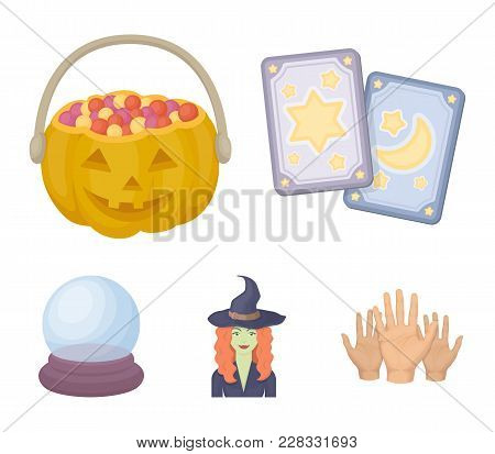 Tarot Cards, Holiday Halloween, Magician In A Hat, Crystal Ball.black And White Magic Set Collection