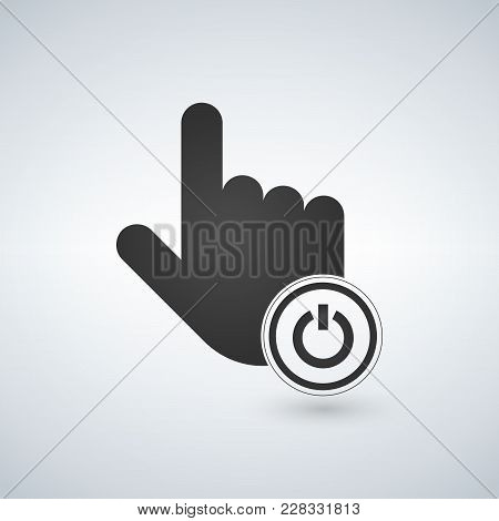 Hand Mouse Cursor Pointer With Turn Off On Power Icon In The Circle. Vector Illustration