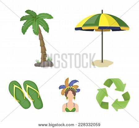 Brazil, Country, Umbrella, Beach . Brazil Country Set Collection Icons In Cartoon Style Vector Symbo