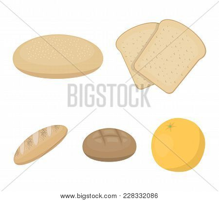 Toast, Pizza Stock, Ruffed Loaf, Round Rye.bread Set Collection Icons In Cartoon Style Vector Symbol