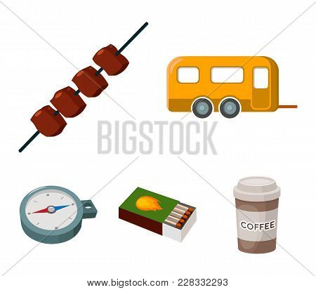 Trailer, Shish Kebab, Matches, Compass. Camping Set Collection Icons In Cartoon Style Vector Symbol
