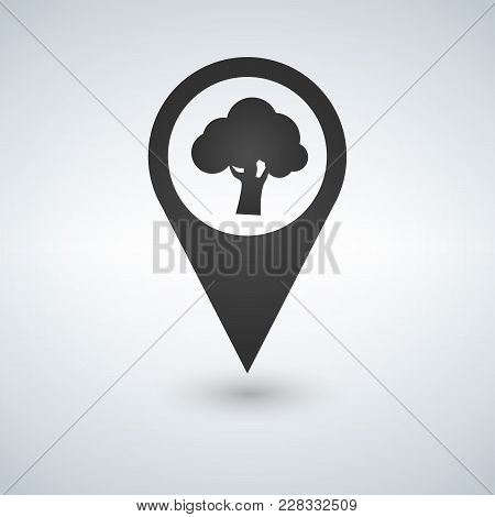 Forest Location Icon. Tree Inside Pinpoint. Vector Isolated Illustration