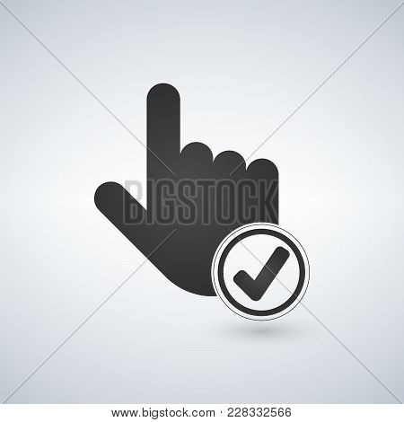 Hand Cursor And Checkmark Icon. Vector Illustration