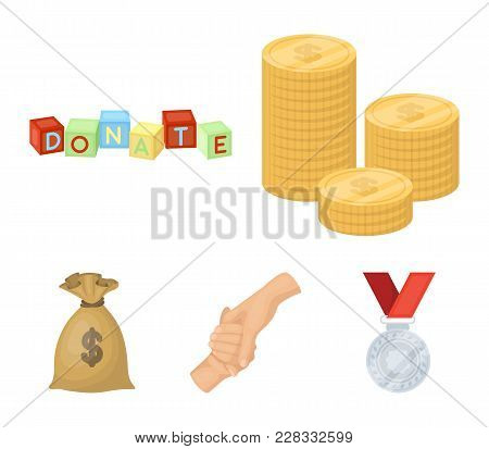 A Pile Of Coins For Donations, Colored Cubes With An Inscription, A Handshake, A Bag Of Money For Do