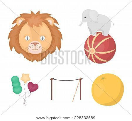 Elephant On The Ball, Circus Lion, Crossbeam, Balls.circus Set Collection Icons In Cartoon Style Vec