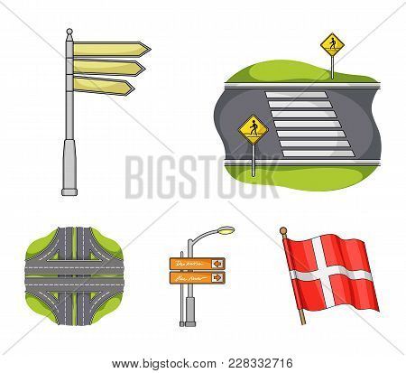 Direction Signs And Other  Icon In Cartoon Style.road Junctions And Signs Icons In Set Collection.