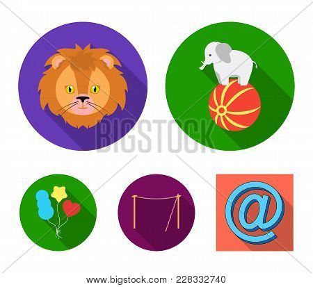 Elephant On The Ball, Circus Lion, Crossbeam, Balls.circus Set Collection Icons In Flat Style Vector