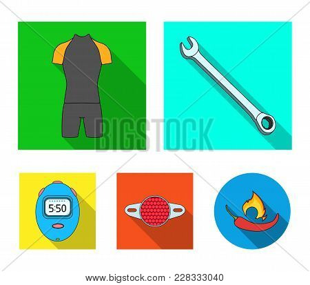 A Wrench, A Bicyclist's Bone, A Reflector, A Timer.cyclist Outfit Set Collection Icons In Flat Style