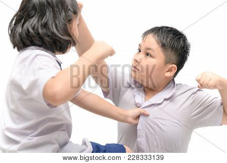 Asian Brother And Sister Quarreling Isolated On White Background, Fighting Children