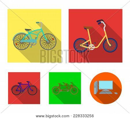 Children's Bicycle, A Double Tandem And Other Types.different Bicycles Set Collection Icons In Flat