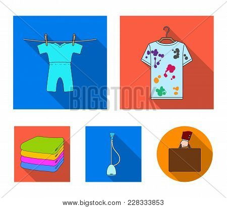 Vacuum Cleaner, A Stack Of Cloth, Dirty And Clean Things. Dry Cleaning Set Collection Icons In Flat
